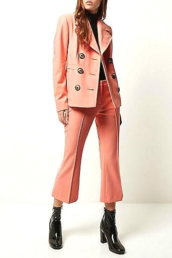 Pink double breasted     Pink double breasted jacket £65.00 and the light pink cropped kick flare trousers £38.00  #JustArrived   #RiverIsland