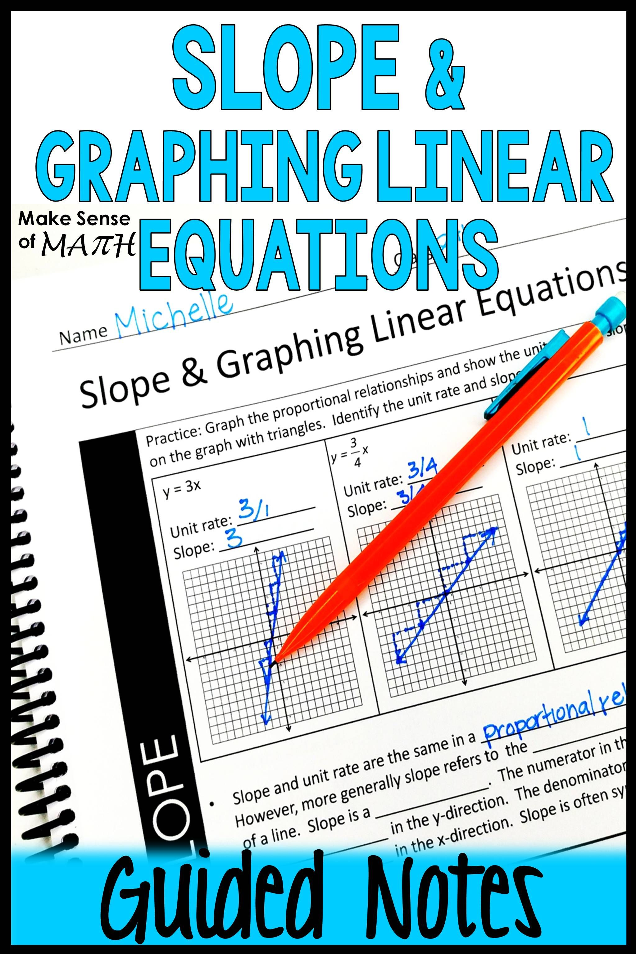 Slope and Graphing Linear Equations Notes   Graphing linear equations [ 3072 x 2048 Pixel ]