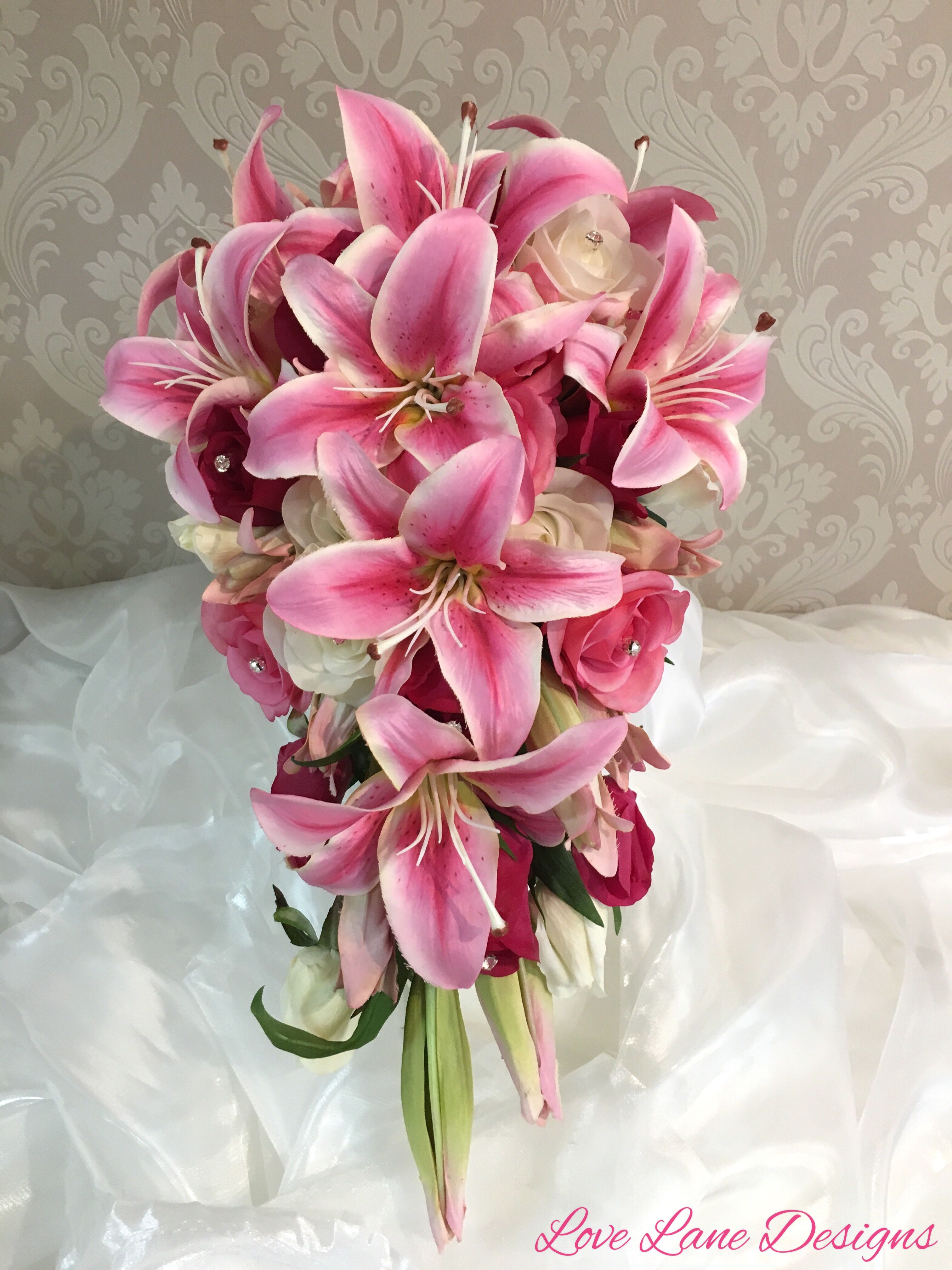 Fuchsia Hot Pink Lilys And Mixed Pink Roses And Buds Wedding Bridal