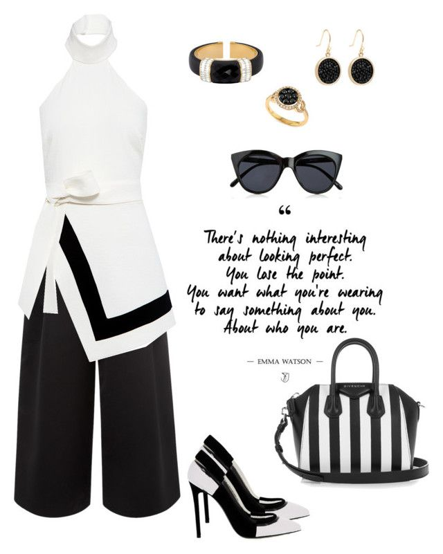 """""""Monochrome"""" by ysendjaja on Polyvore featuring Greymer, Givenchy, Le Specs, Edit, Finders Keepers, Henri Bendel, Effy Jewelry and WardrobeStaples"""
