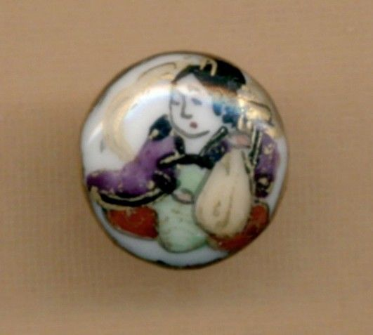 Vintage KUTANI Button...One of the Seven Immortals...Playing Musical Instrument
