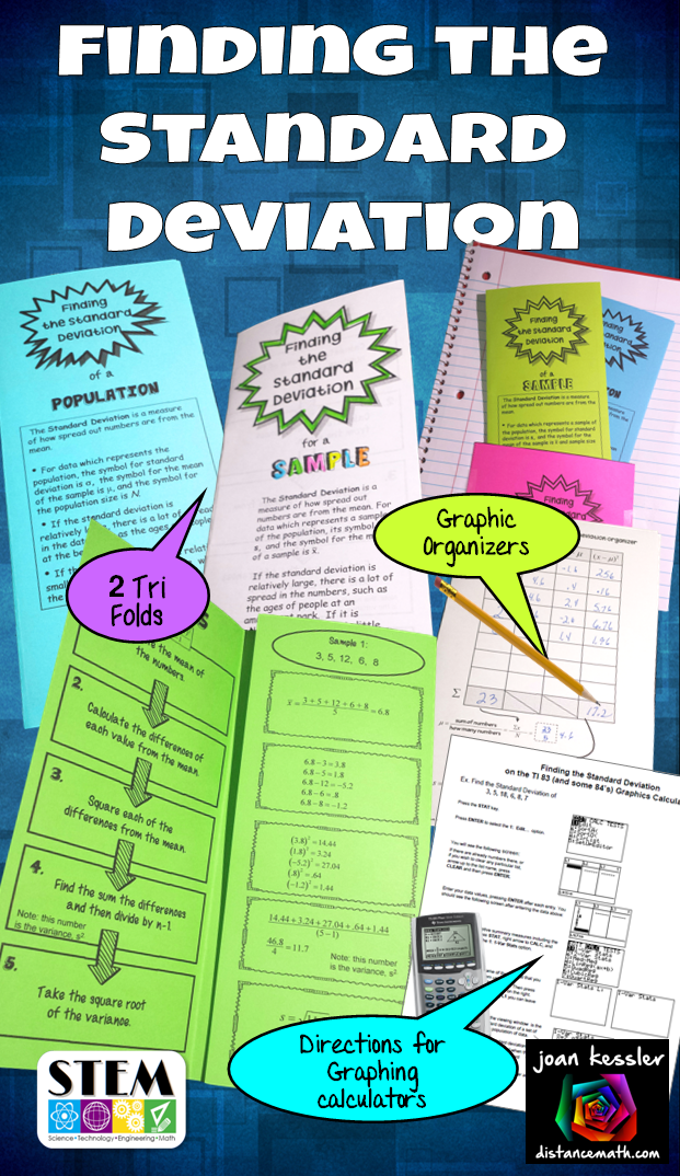 Bundle of organizers to find the Standard Deviation. Great for Statistics and Algebra