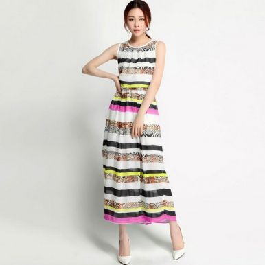 Foreign Print Elastic Waist Sleeveless Maxi Chiffon Dress