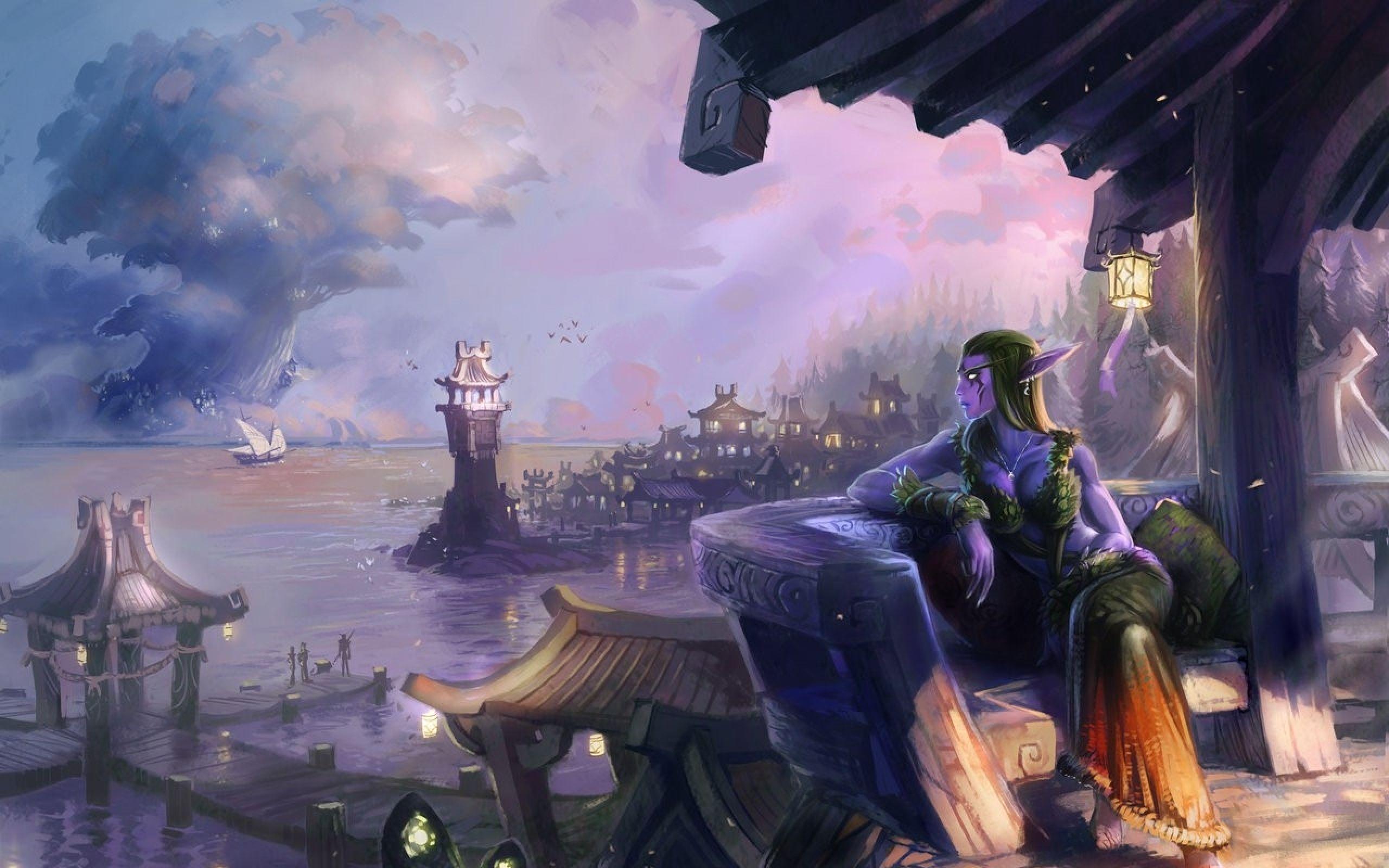 Download Wallpapers Download 2560x1600 World Of Warcraft Artwork Afternoon Night Elf Darkshore 1280x899 World Of Warcraft Game Warcraft Art World Of Warcraft