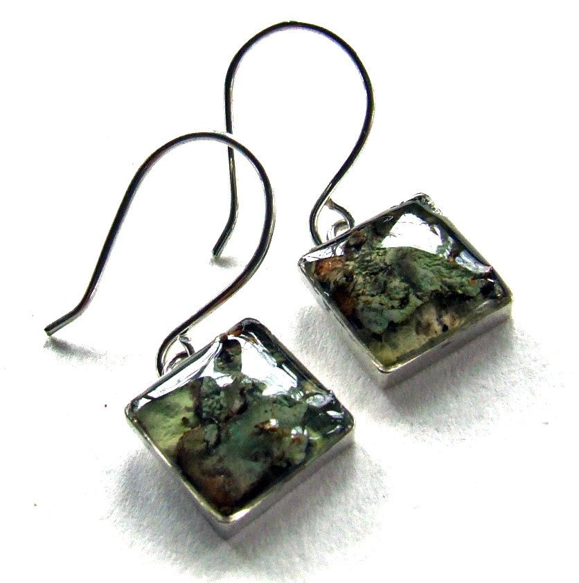 SQUARE LICHEN Earrings in Sterling Silver and Resin - Nature Jewelry from the Captured Collection - on Posts or Wires. $55.00, via Etsy.