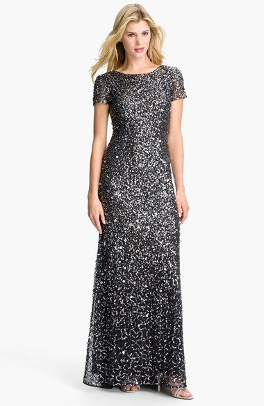 42e79e98 Engagement Party - Adrianna Papell Short Sleeve Sequin Mesh Gown (Regular &  Petite) available at #Nordstrom