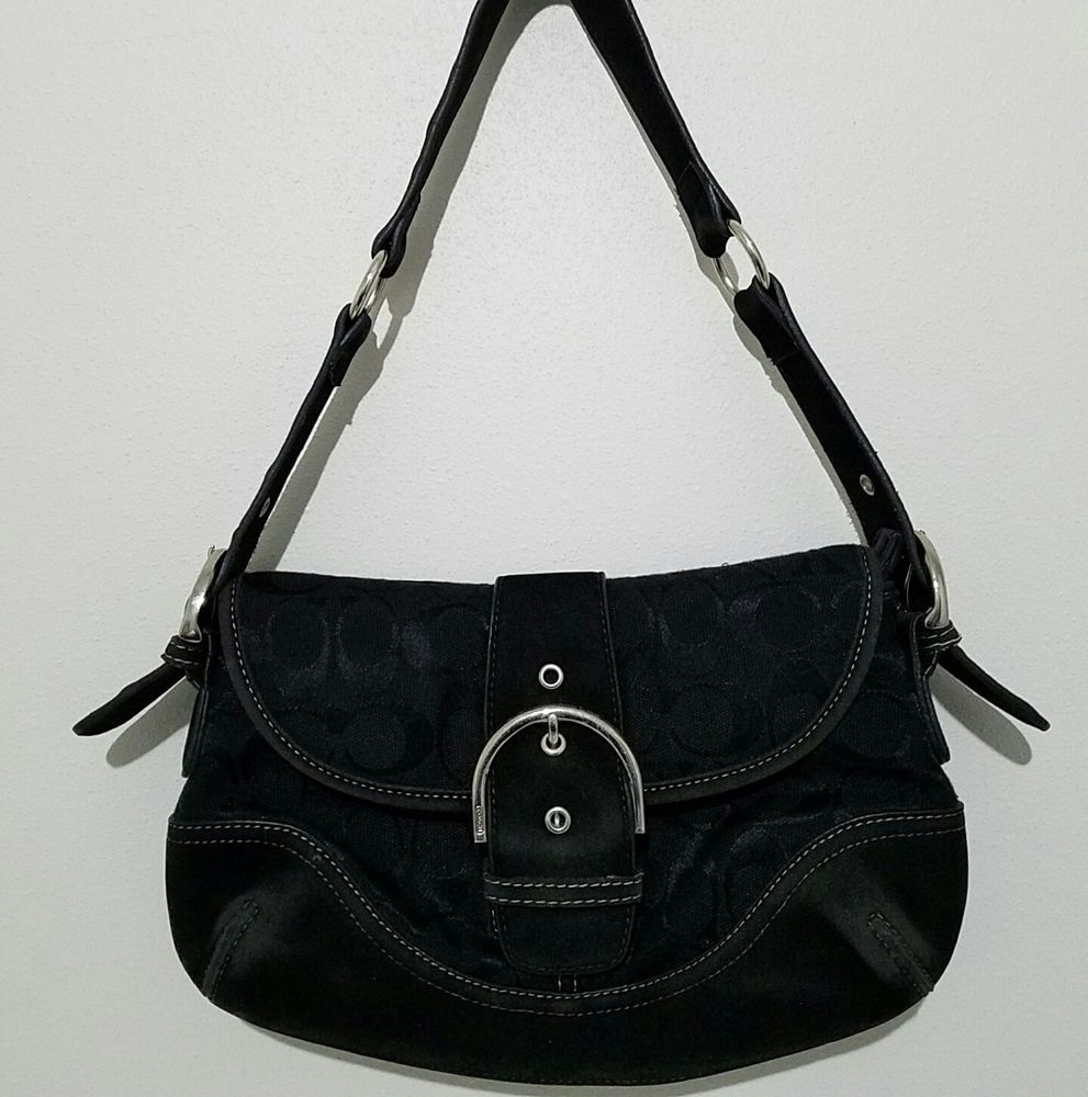 03891999ffc3 Coach Purse Black Medium Monogram Shoulder Bag D2J-1814M Snap Closure  Preowned  Coach  ShoulderBag