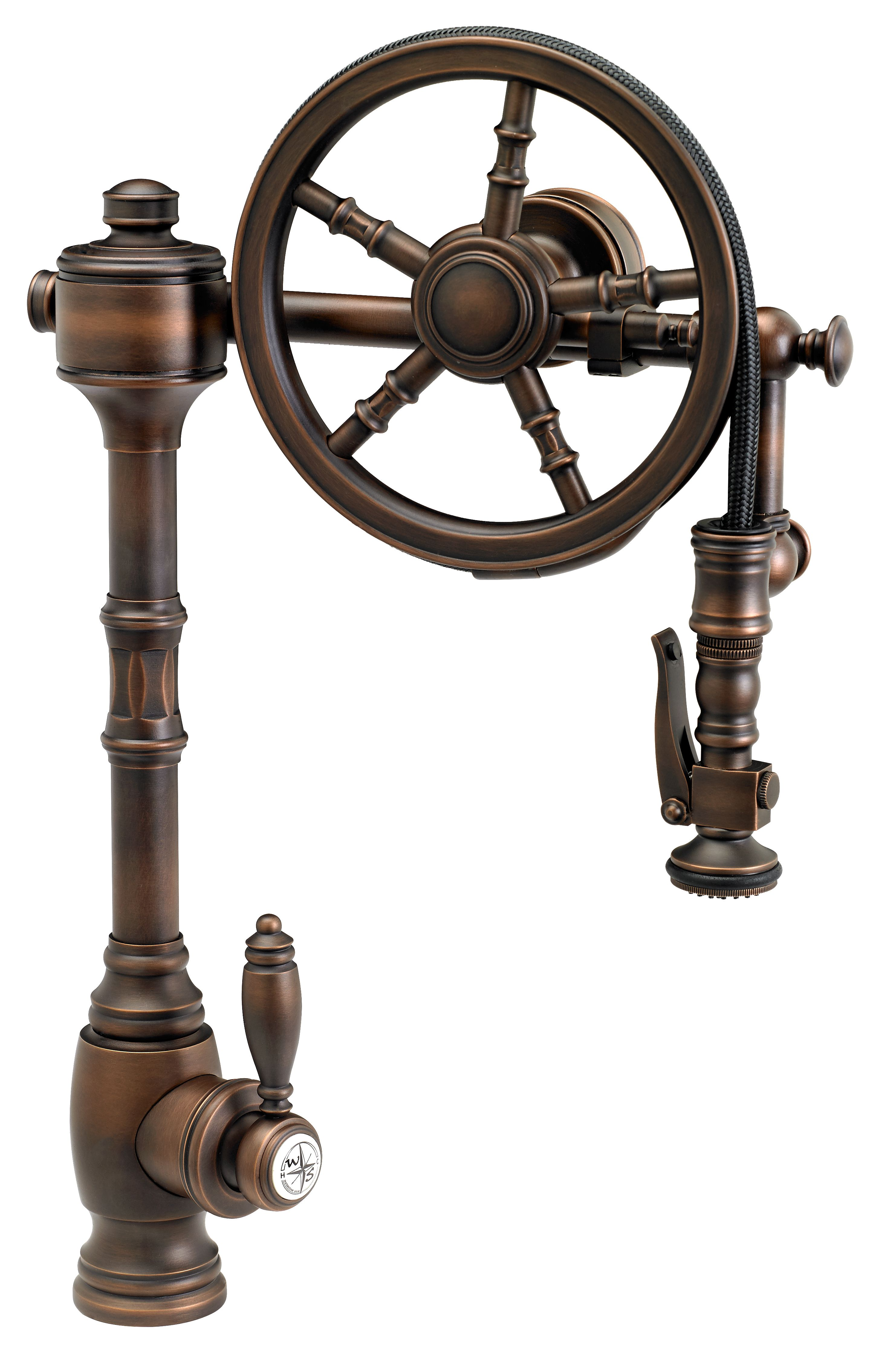delightful Bronze Pull Down Kitchen Faucet #6: Waterstone Wheel Pulldown Kitchen Faucet - 5100. Finish is American Bronze.