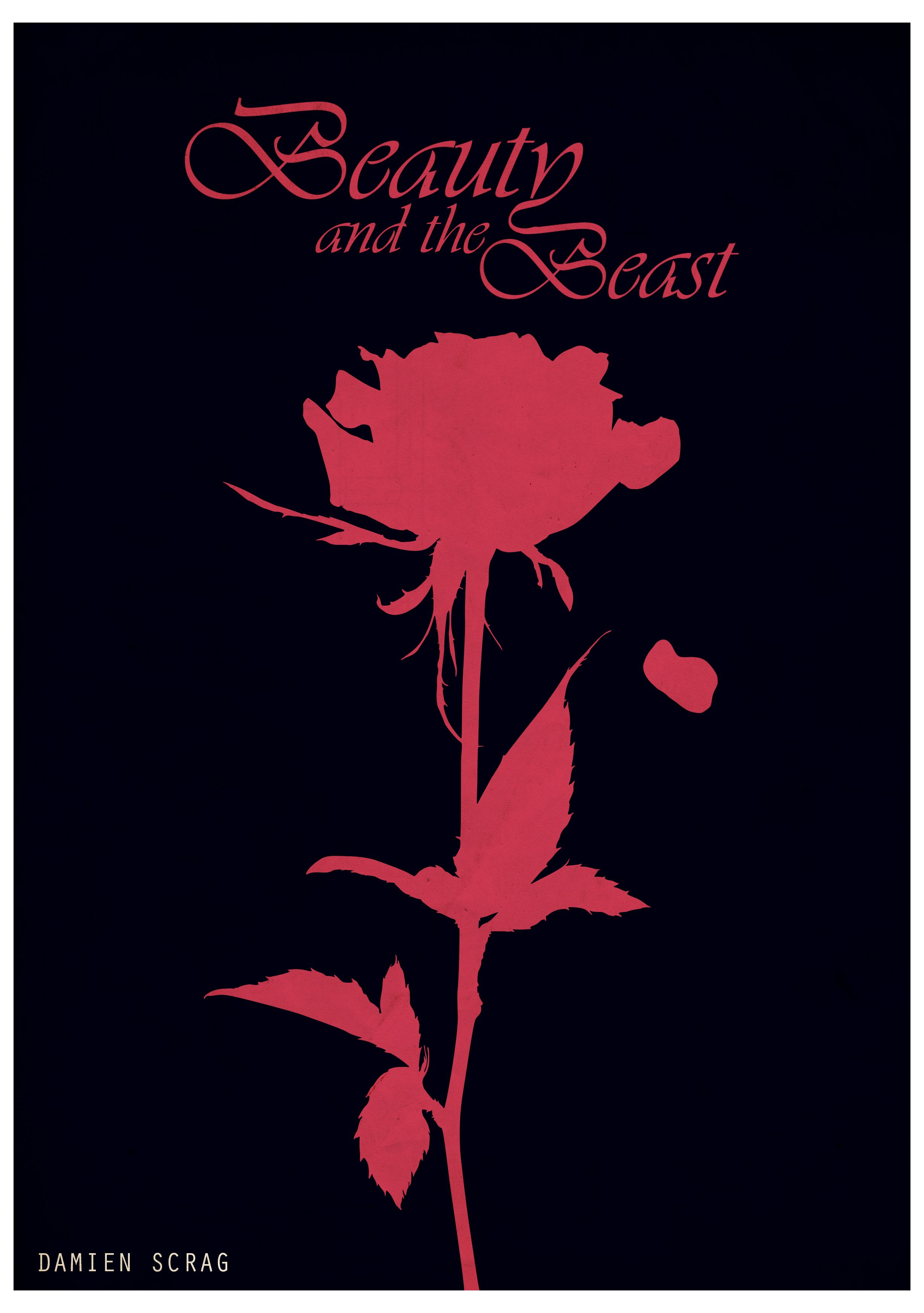 beauty and the beast minimalist poster by damien scrag