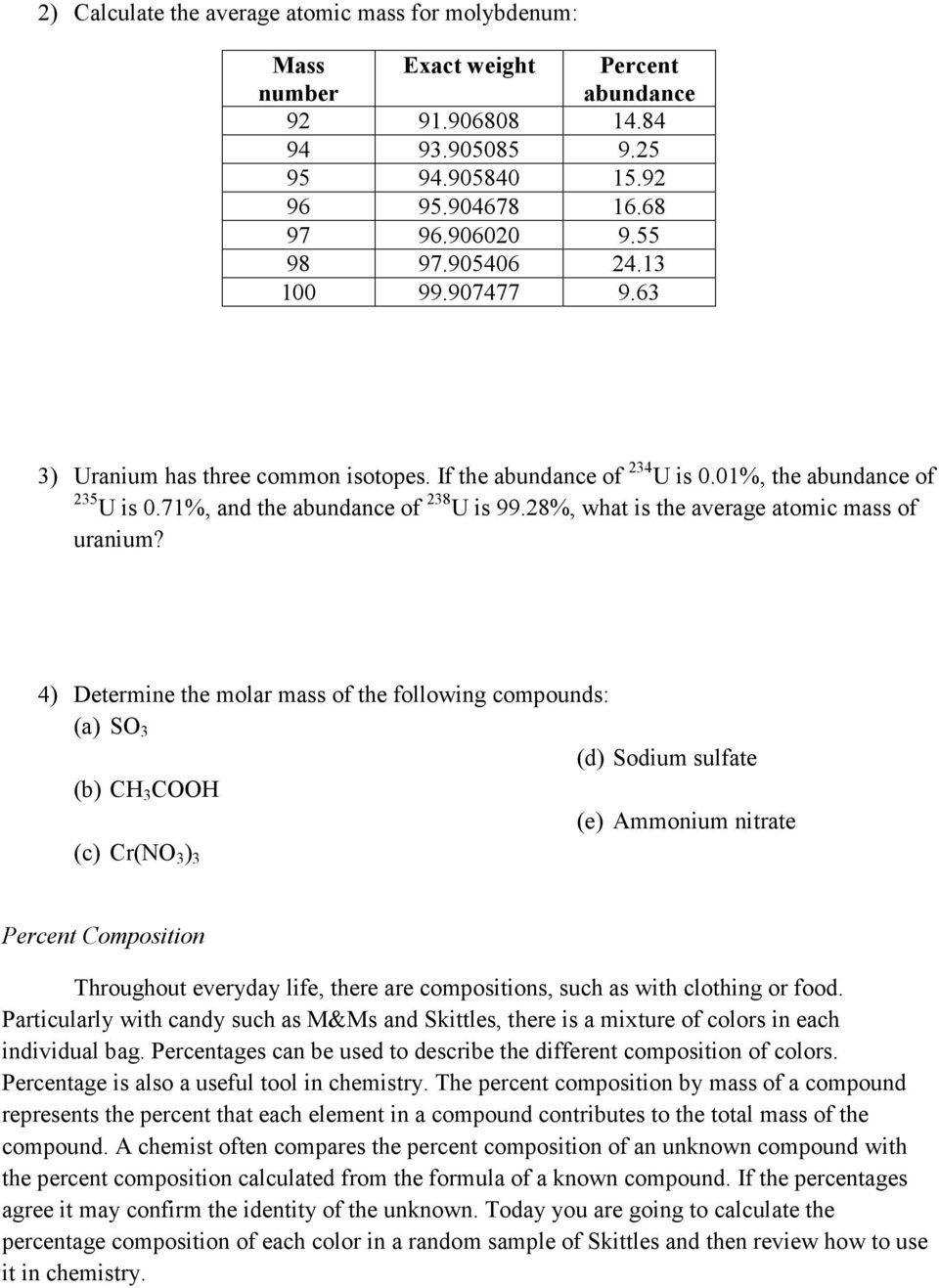 17 Average Atomic Mass Worksheet