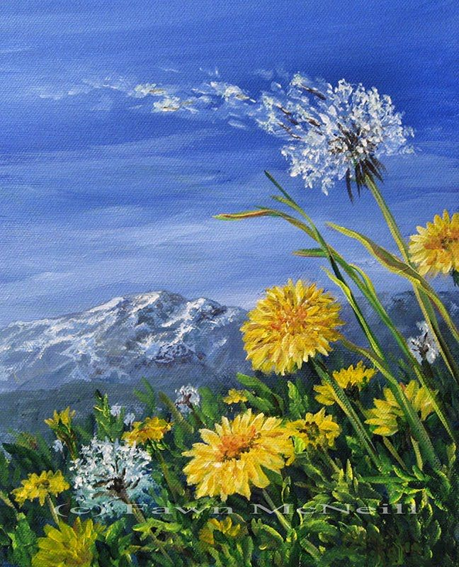 A Blog Of Original Paintings Of Wildlife Animals Landscapes Flowers Angels And Dandelion Painting Mountain Landscape Painting Landscape Paintings Acrylic