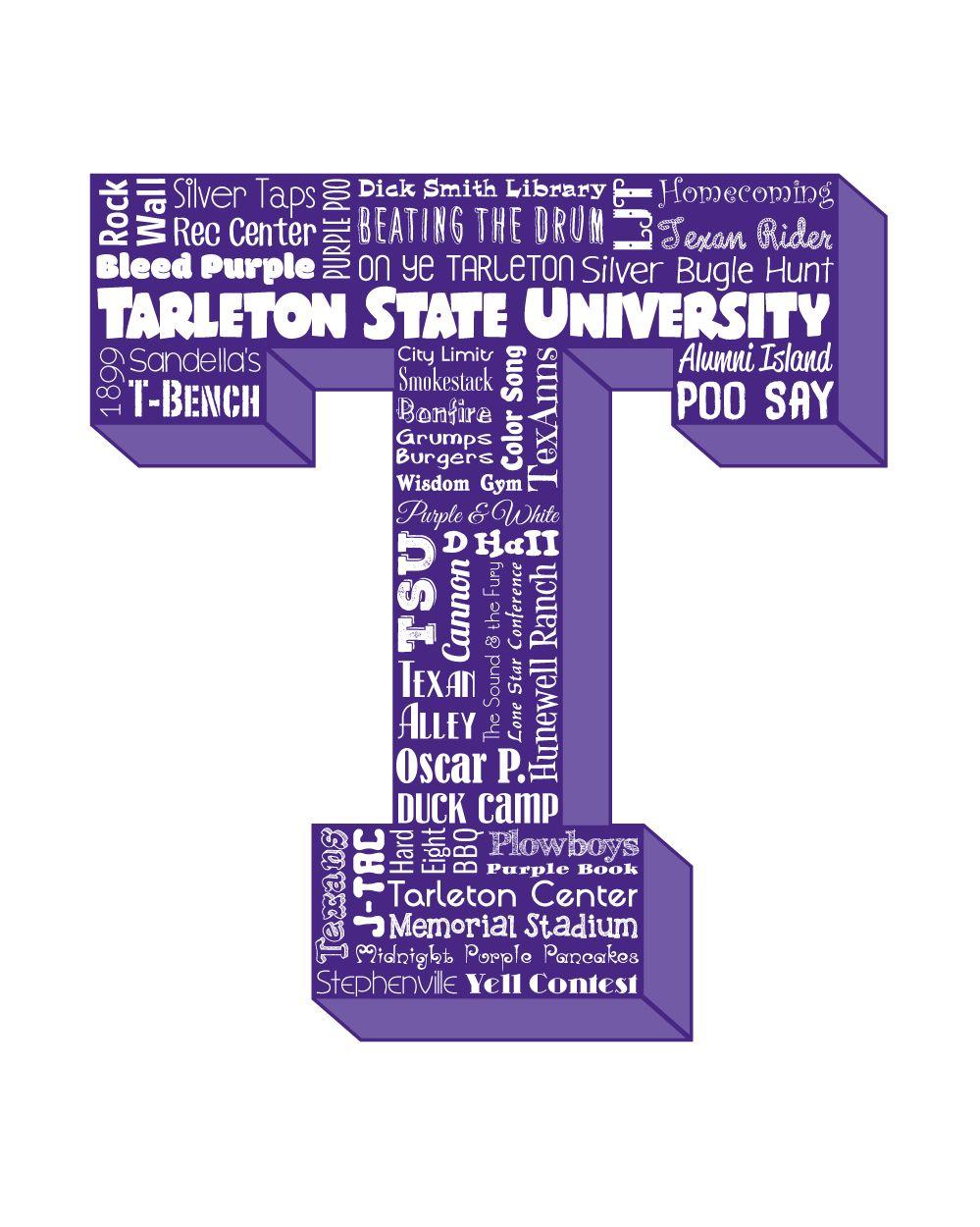 Tarleton State Map.Original Artwork Using Words To Describe Tarleton State University