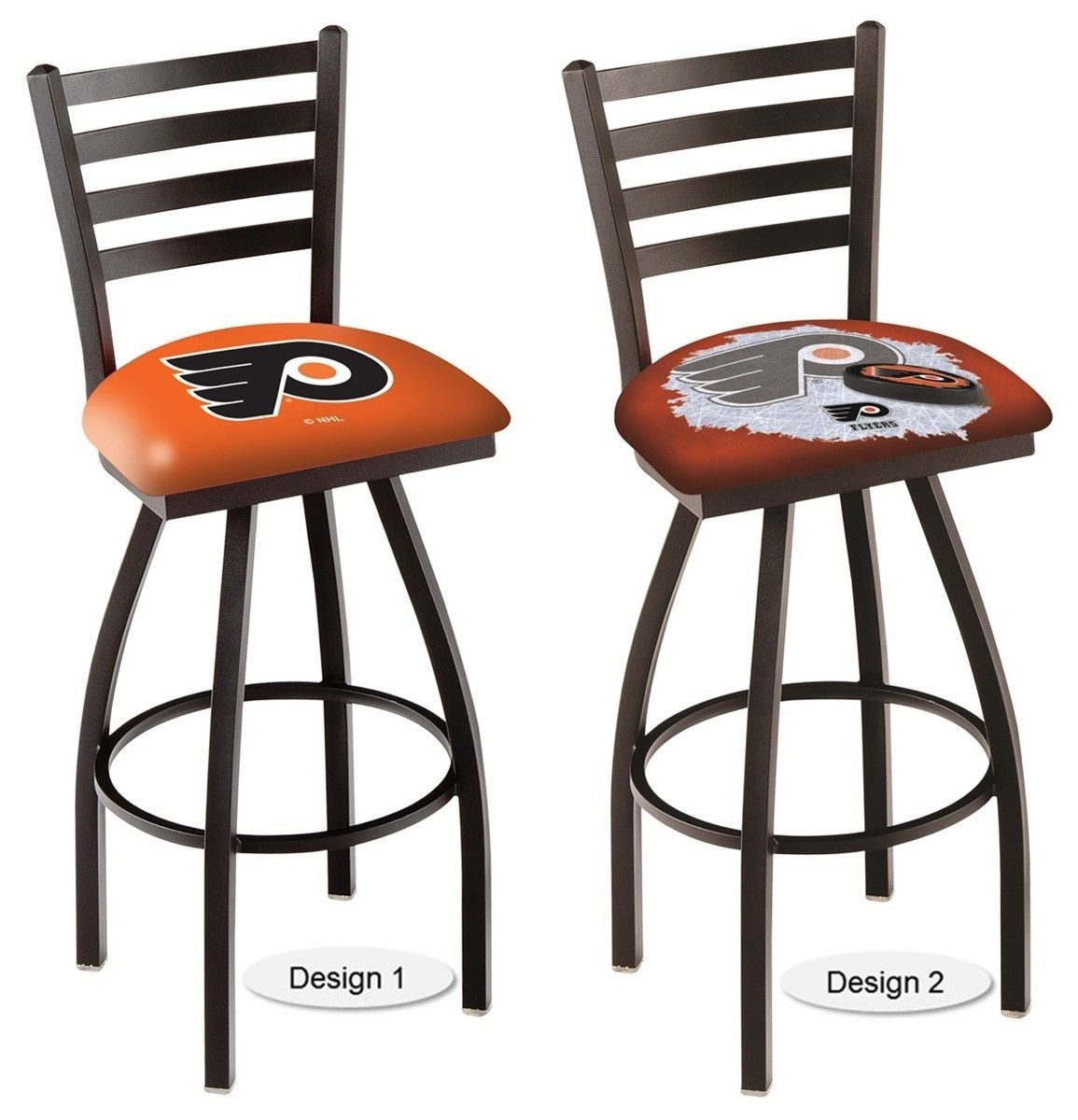The Officially Licensed Nhl Philadelphia Flyers Bar Stool Carries A Defined Black Ladder Style Back That Adds Comfort And Sophistication