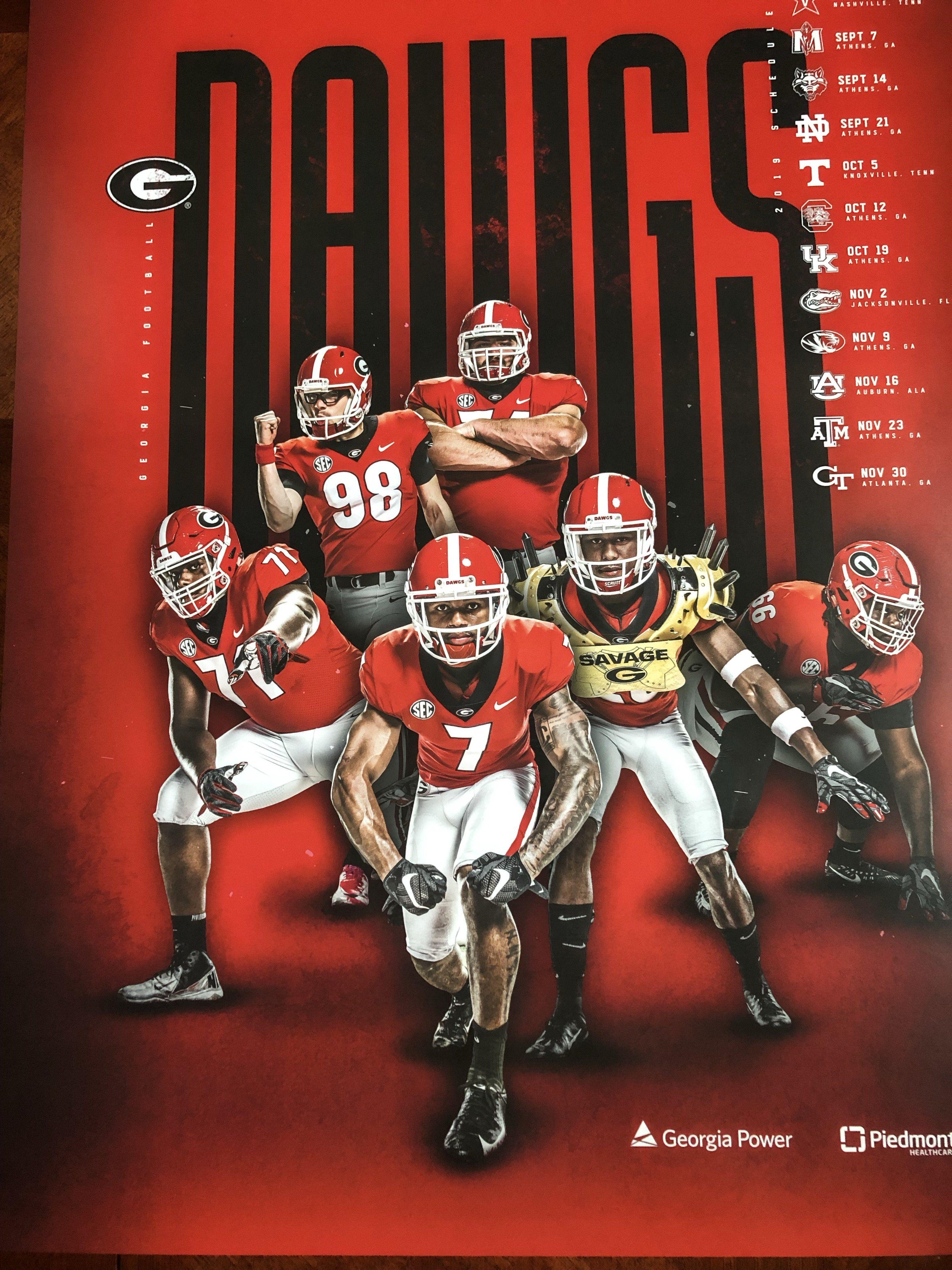 2019 Football Team Red Team Schedule Poster Team
