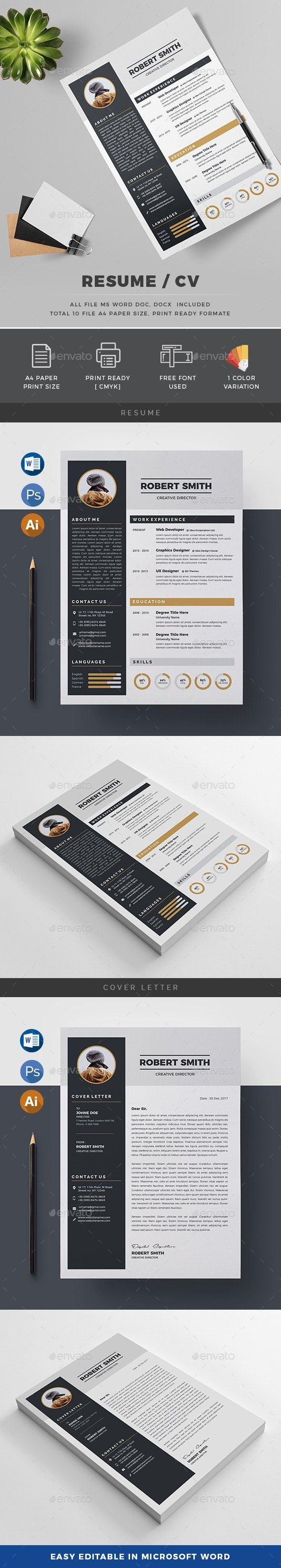 Resume AD Resume Simple resume template, Downloadable