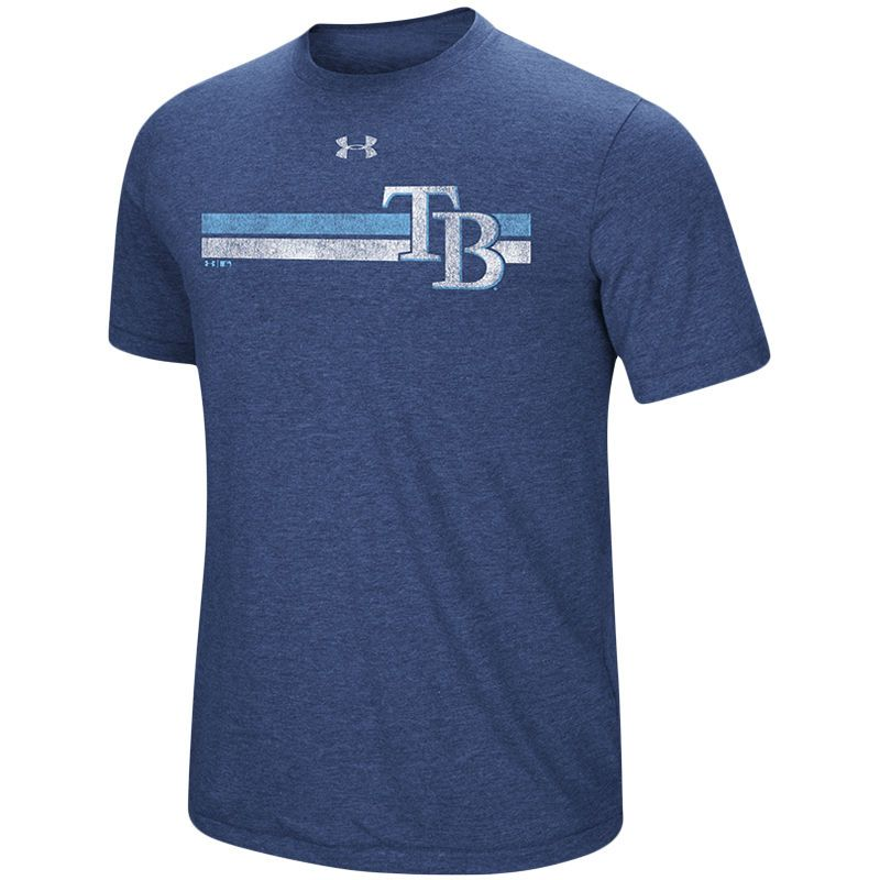Tampa Bay Rays Under Armour Stripe Logo Tri Blend T Shirt