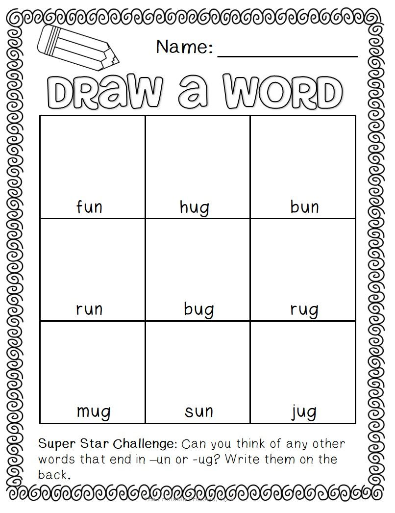 Draw A Word Cvc Worksheets Words Word Families First Grade Phonics Read write draw printables
