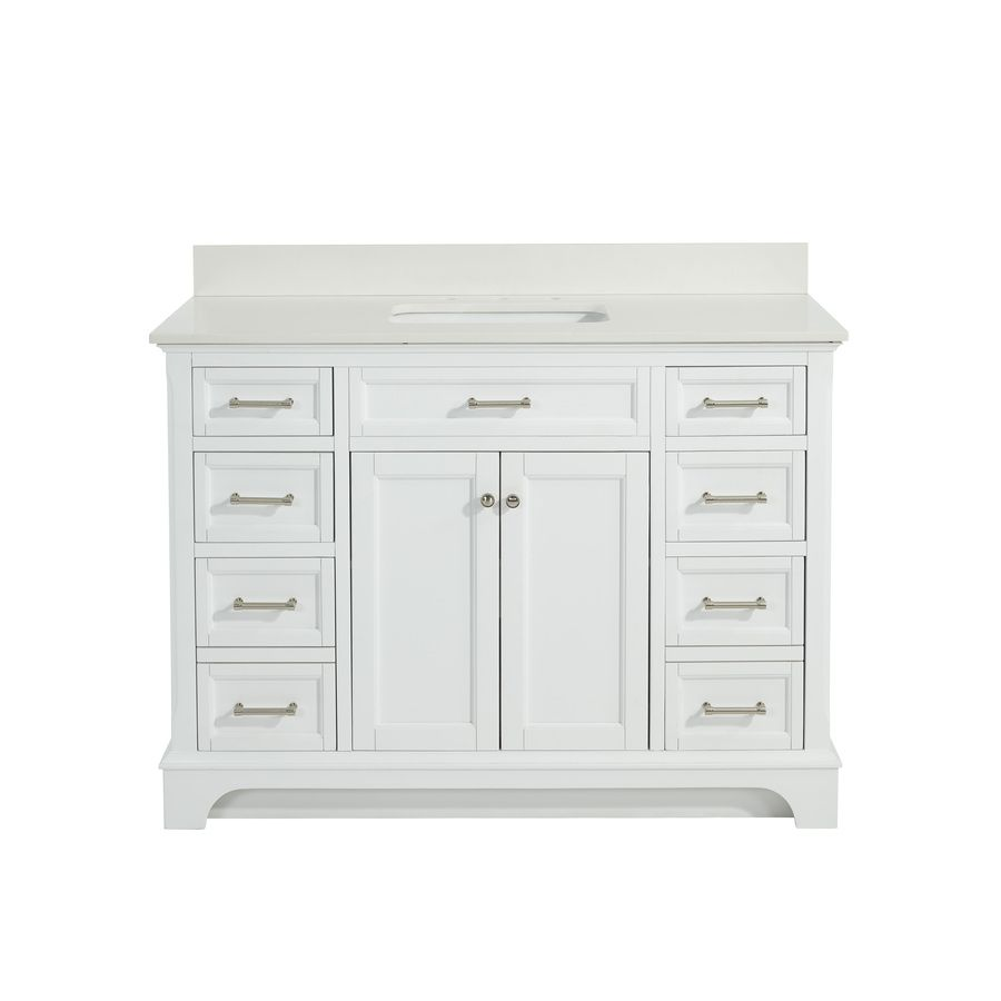 Picture Gallery Website Allen Roth Roveland White In Undermount Single Sink Birch Poplar Bathroom Vanity With Engineered Stone Top