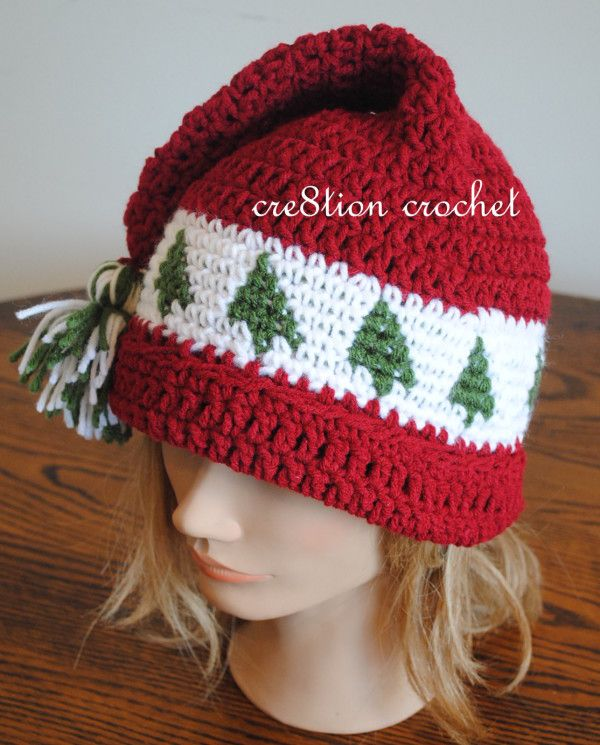 Christmas Cap Crochet Pattern Trees go Round | Needlework ...