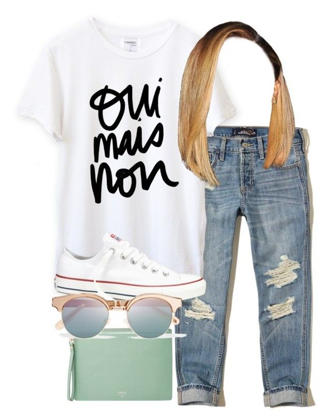 """Untitled #467"" by shaimoneyyyy ❤ liked on Polyvore featuring Hollister Co., Converse, FOSSIL and Le Specs"
