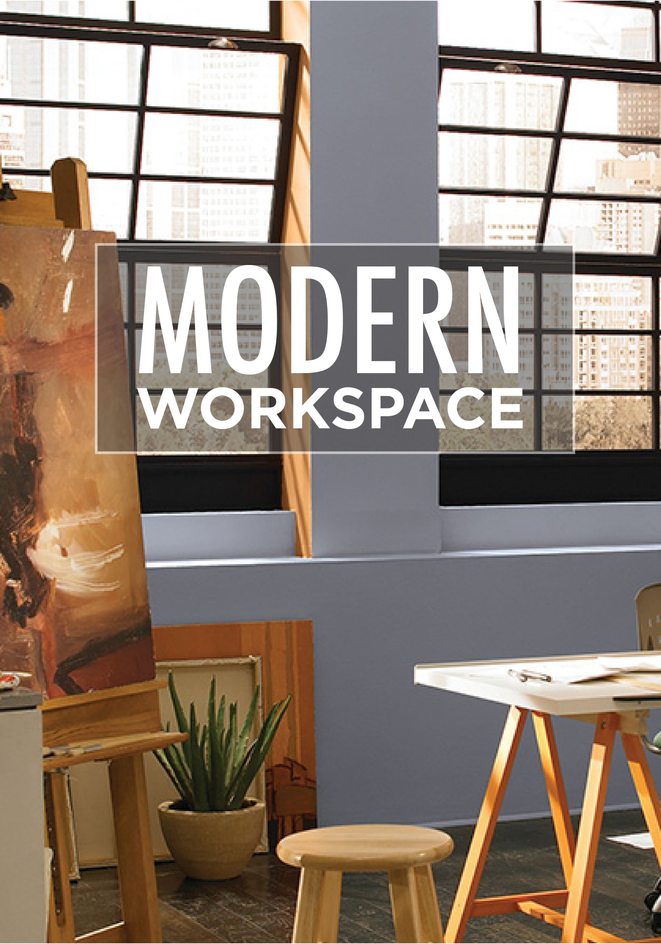 Let the natural light in your modern industrial office space bounce off the beautiful