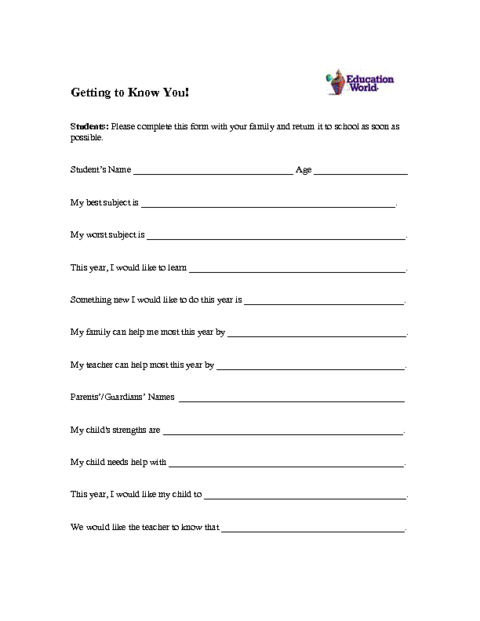 Education World Student Profile Form Template