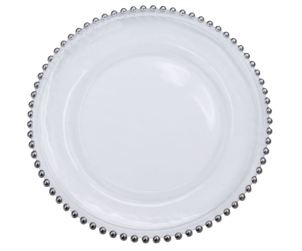 beaded glass charger plate silver trim event decor