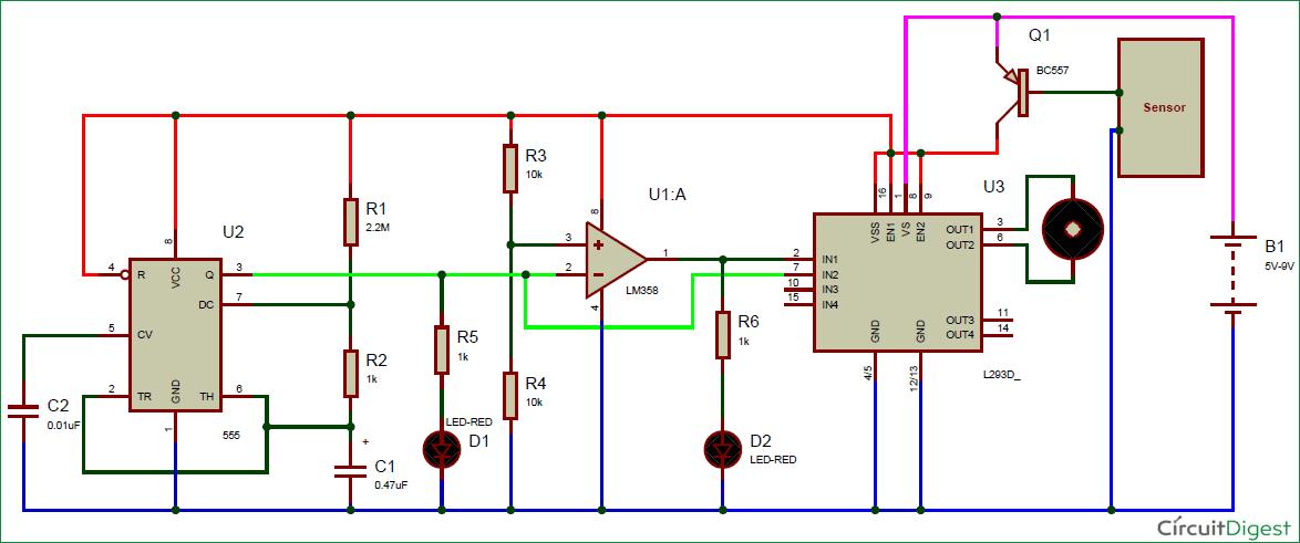 automatic rain sensing wiper using 555 circuit diagram 555 rain sensor using servo motors with the arduino