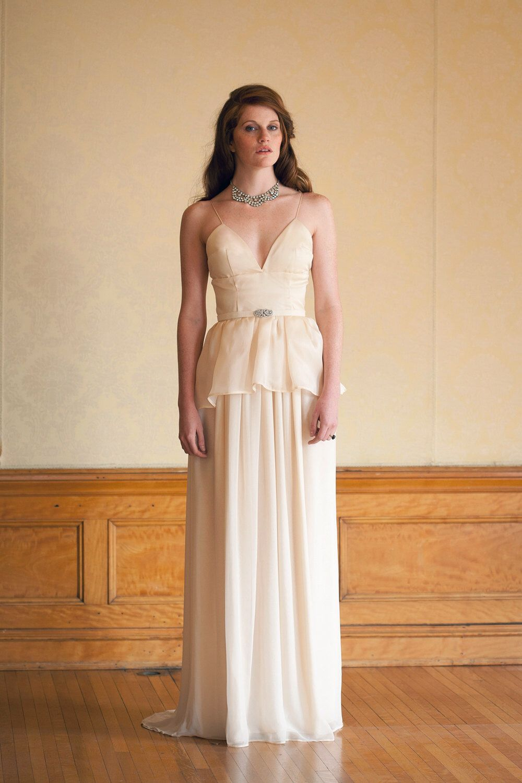 Items Similar To Ivory Tiered Wedding Dress Silk Chiffon Modern Gown Handmade Minimal Iris On