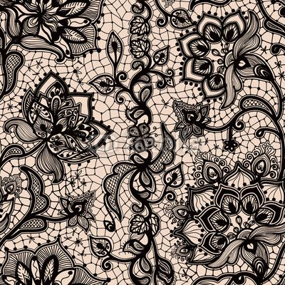 Seamless lace vector pattern - retro weddin style, ornamental repetitive  design with flowers and swirls in white on gray   CanStock   400x400