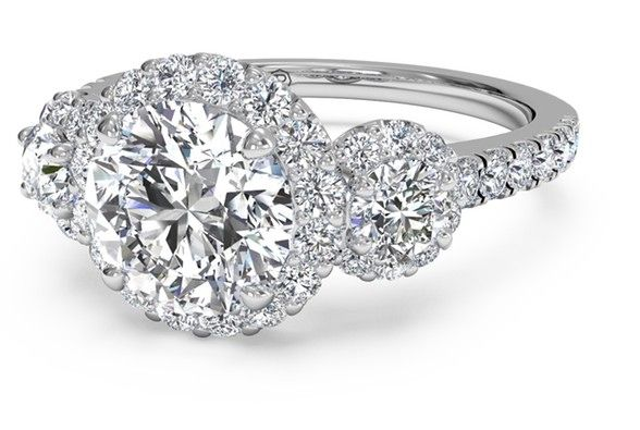 Round Cut Three-Stone Halo Diamond Engagement Ring in 18kt White Gold 0.75 CTW
