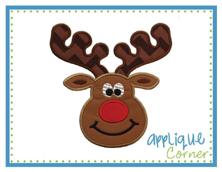 885 Christmas Reindeer Boy Applique Design In Digital Format For Embroidery Machine By Corner