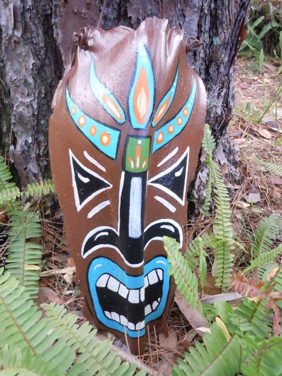 hand PAINTED TIKI MASK wall hanging patio decor by lecraftee ...