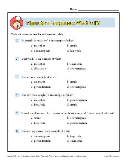 Language Worksheets Printable : All worksheets figurative language grade