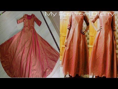 c42cf48a0e5 How to make a designer umbrella dress from... old work saree  - YouTube