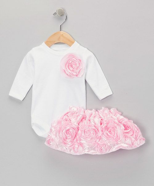 Love this Caught Ya Lookin' White & Pink Rose Bodysuit & Tutu - Infant by Caught Ya Lookin' on #zulily! #zulilyfinds
