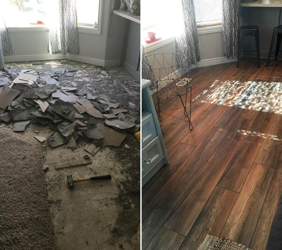 Before And After New Haven Harbor Oak Oak Laminate Flooring Log Cabin Decor Simple House