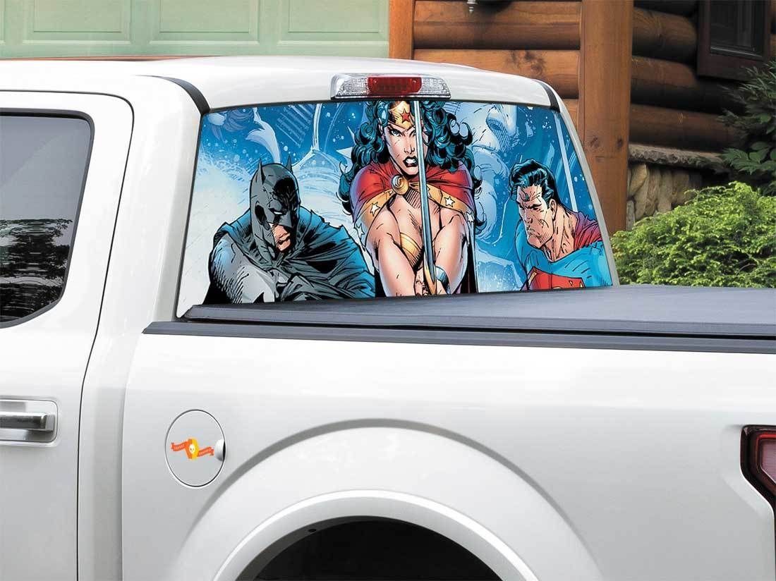Product Batman Superman Wonder Woman Dc Comics Rear Window Decal Sticker Pick Up Truck Suv Rear Window Decals Batman Superman Wonder Woman Batman And Superman [ 824 x 1100 Pixel ]
