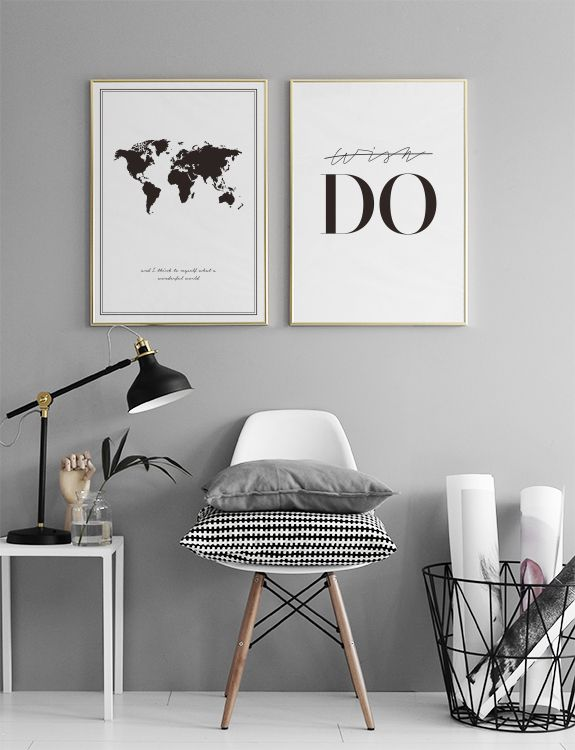 Poster with a black and white world map poster frames pinterest poster with a black and white world map gumiabroncs Choice Image