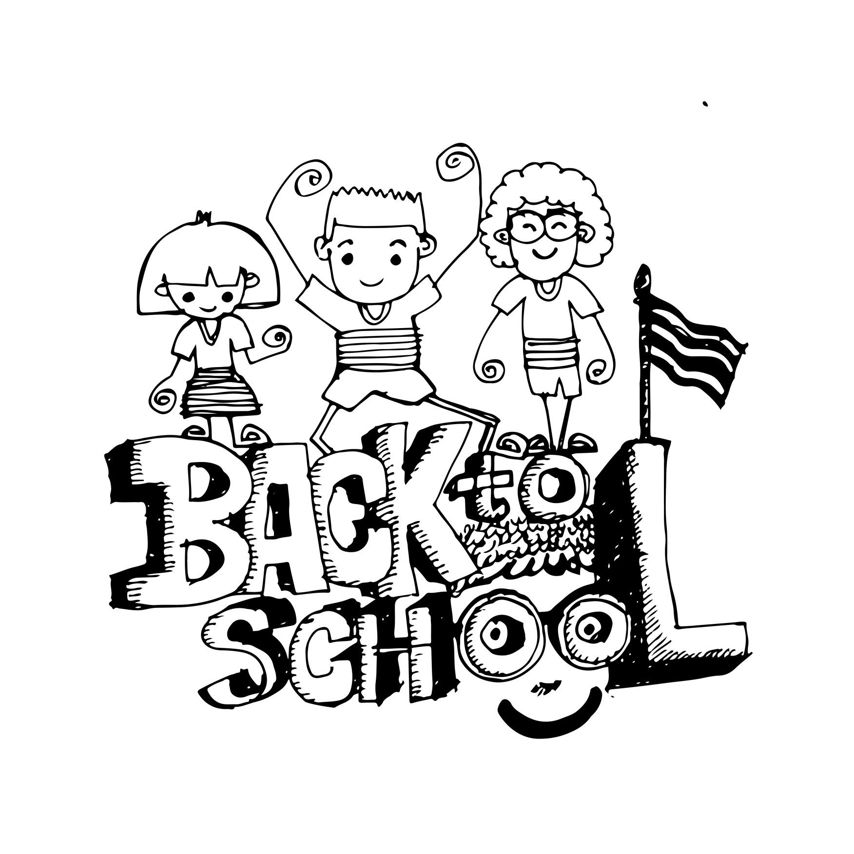 doodle kid back to school icon hand draw illustration
