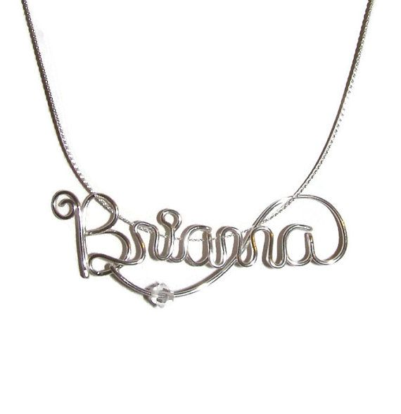 Jewelry Sterling Silver Name Necklace by IntricateWireDesigns