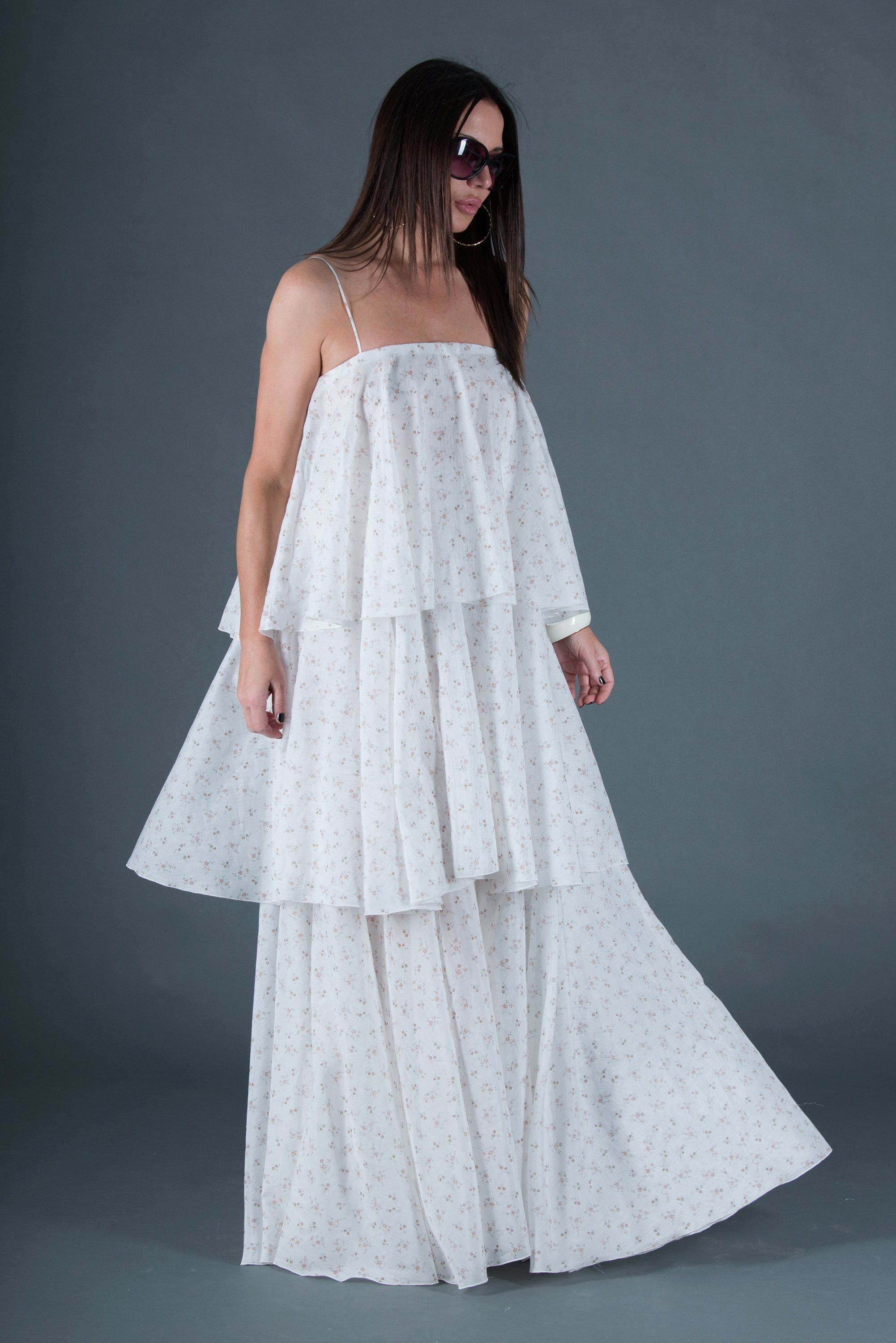 White women flounces dress women long party dress maxi cotton