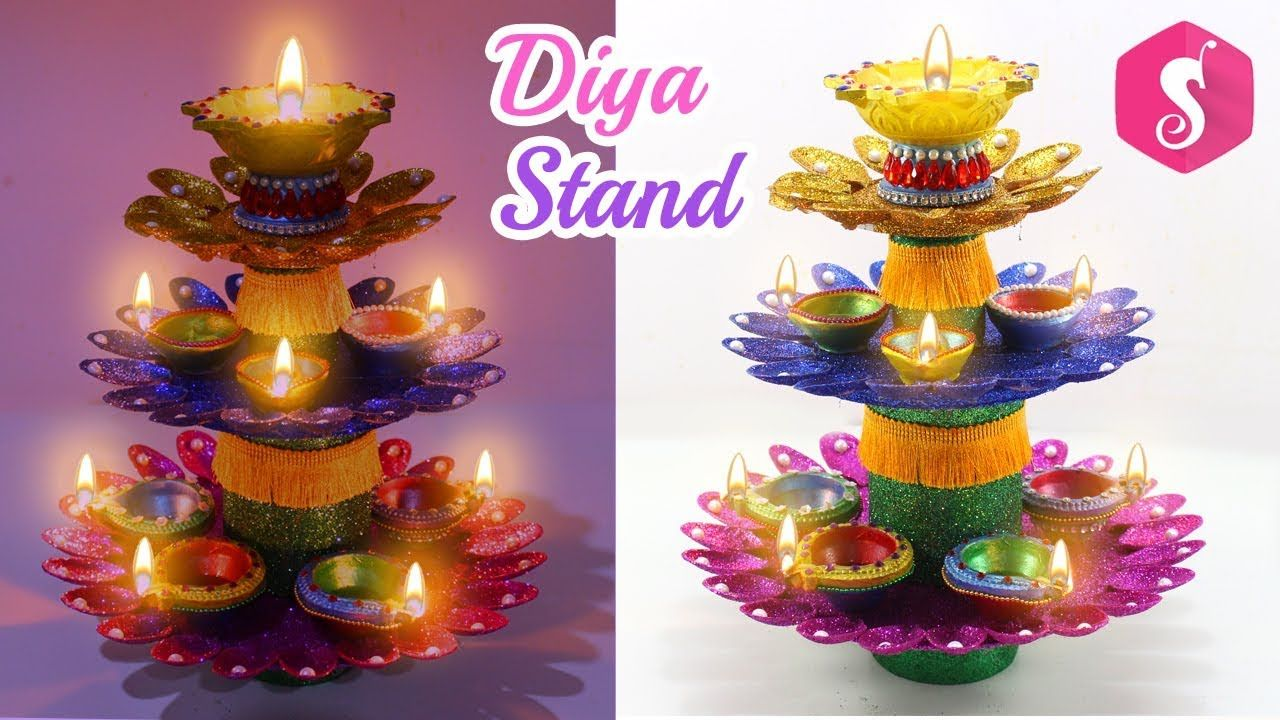 Diya Stand From Plastic Spoons Glitters By Sonali S Creations Youtube Plastic Spoons Diy Diwali Decorations Diwali Craft