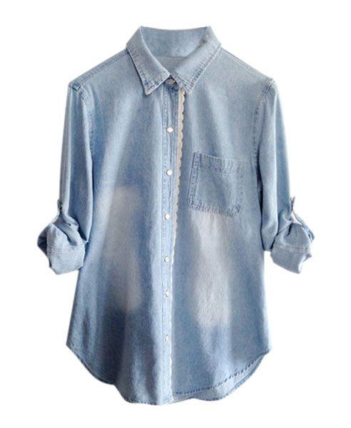 23a00e808c7 Vintage Style Washable Blue Lapel Collar Long Sleeve Rough Edge Denim Blouse