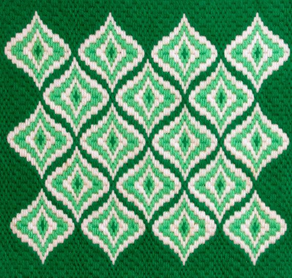 Vintage Bargello Needlepoint Abstract Design in Green Op Art Decor ...