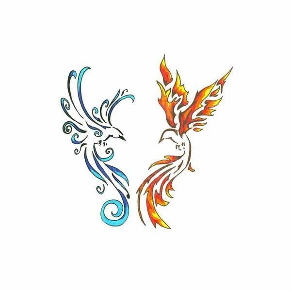 TCOOL Colorful Watercolor Phoenix Dragon Temporary