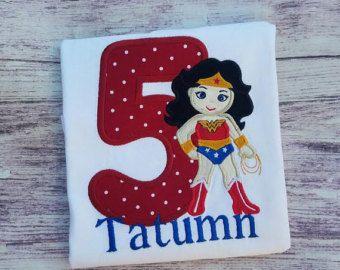 Wonder Woman Applique Shirt Birthday
