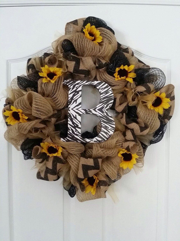 Spring Wreath Sunflowers Initial Deco Mesh Door Wreath