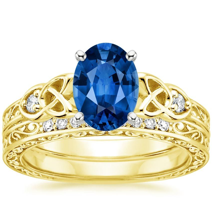 Blue Sapphire Aberdeen Engagement Ring 18K Yellow Gold Bridal