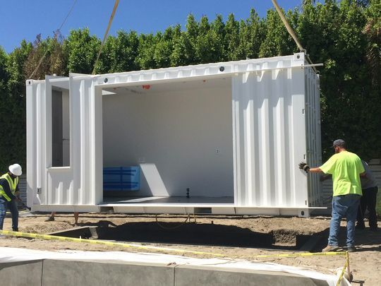 A Shipping Container That Will Become A Pool Cabana Alexander Home Container House Pool Cabana